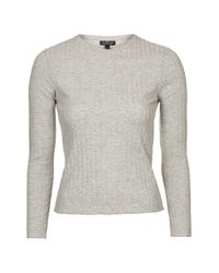 TOPSHOP | Gray Petite Round Neck Ribbed Top | Lyst
