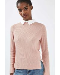 TOPSHOP - Pink Long Sleeve Ribbed Hybrid Jumper - Lyst