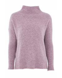 TOPSHOP   Purple Petite Oversized Rib Funnel Knitted Jumper   Lyst