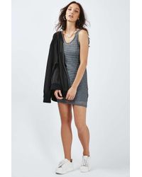 TOPSHOP - Gray Petite Mesh Vest Dress - Lyst