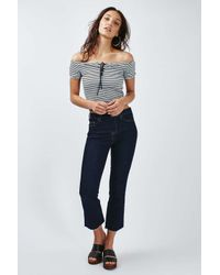 TOPSHOP - Blue Petite Stripe Tie Bardot Crop - Lyst