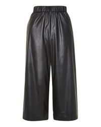 TOPSHOP | Black Petite Pu Wide Leg Trousers | Lyst