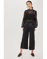 TOPSHOP - Black Petite Ribbed Awkward Wide Leg Trousers - Lyst