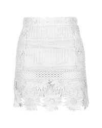 TOPSHOP | White Petite Cutwork Lace Skirt | Lyst