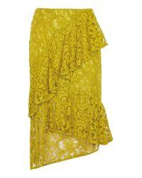 TOPSHOP | Multicolor Lace Ruffle Midi Skirt | Lyst