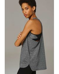 TOPSHOP - Gray Laser Cut Logo Racer Tank Top By Ivy Park - Lyst