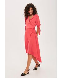 b0e34ec0a0 TOPSHOP Emma Tie Sleeve Wrap Dress in Red - Lyst