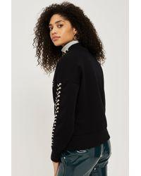 TOPSHOP - Black Lace Up Sweatshirt - Lyst