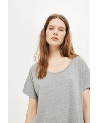 TOPSHOP - Gray Washed Scoop Neck T-shirt - Lyst