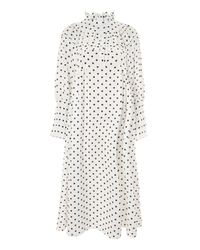 9ba83365e8 TOPSHOP Polka Dot Frill Midi Dress in White - Lyst