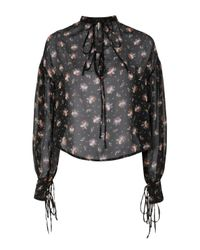 TOPSHOP Black Gypsy Sheer Blouse