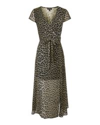 TOPSHOP | Brown Tall Leopard Wrap Maxi Dress | Lyst