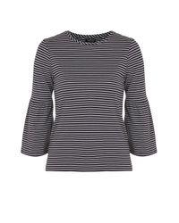 TOPSHOP   Blue Tall Stripe Bell Sleeve T-shirt   Lyst