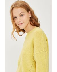 TOPSHOP | Yellow Tall Crew Neck Jumper | Lyst