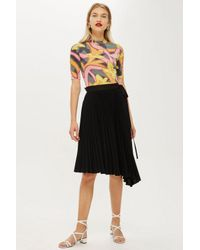 ebc0ce9d81 Topshop Pleated Crepe Skirt in Black - Lyst