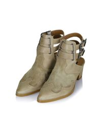 TOPSHOP - Natural Austin Western Buckle Boots - Lyst