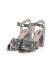 TOPSHOP | Gray Radiant Metallic Sandals | Lyst