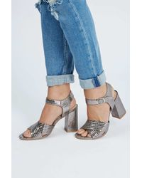 TOPSHOP - Gray Radiant Metallic Sandals - Lyst