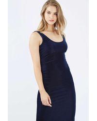 TOPSHOP | Blue Velvet Ribbed Midi Dress | Lyst