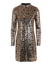 TOPSHOP | Multicolor Animal Print High Neck Dress | Lyst