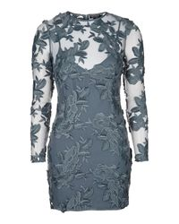 TOPSHOP - Blue Long Sleeve Applique Mini Dress - Lyst