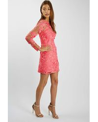 TOPSHOP - Pink Long Sleeve Floral Applique Mini Dress - Lyst