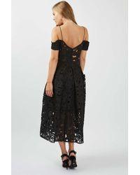TOPSHOP - Black Laser Cut Bardot Prom Dress - Lyst