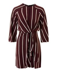 TOPSHOP - Red Mono Stripe Knot Front Dress - Lyst