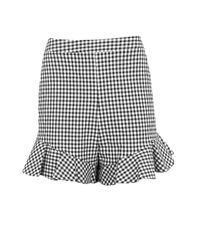 TOPSHOP | Black Gingham Frill Shorts | Lyst