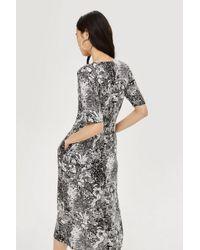 TOPSHOP - Multicolor Monochrome Midi Dress - Lyst