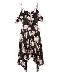 TOPSHOP Black Petite Floral Handkerchief Hem Midi Dress