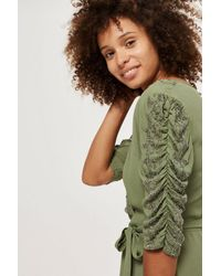 TOPSHOP - Green Embroidered Ruched Sleeve Dress - Lyst