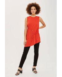TOPSHOP - Red Sleeveless Ruched Tunic - Lyst