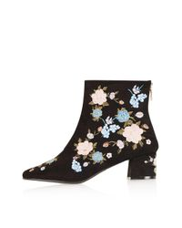 TOPSHOP   Blue Blossom Floral Ankle Boots   Lyst