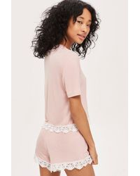 TOPSHOP - Pink Crochet Jersey Shorts - Lyst