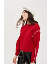 TOPSHOP - Red Bold Sleeve Jumper - Lyst