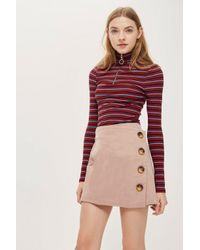432c40fe2c TOPSHOP Cord Asymmetric Wrap Mini Skirt in Pink - Lyst