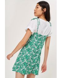 TOPSHOP - Green Petite Button Through Midi Slip Dress - Lyst
