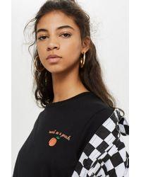 TOPSHOP - Black 'peachy' Motif T-shirt - Lyst