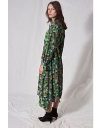 TOPSHOP - Green Floral Asymmetric Dress By Boutique - Lyst