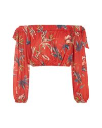 Love | Red Printed Long Sleeve Bardot Top By | Lyst