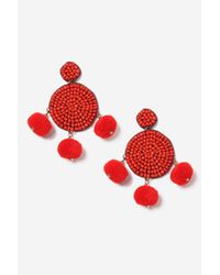 TOPSHOP - Red Pom Pom And Bead Earrings - Lyst