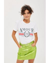 7f87bb593 TOPSHOP Amour Slogan T-shirt in White - Lyst