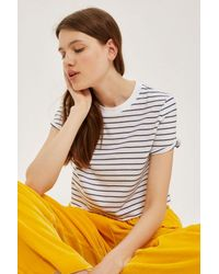 TOPSHOP - Blue Stripe Cropped T-shirt - Lyst