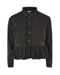 TOPSHOP Black Moto Frill Hem Denim Shirt