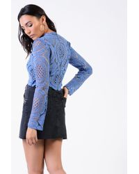 TOPSHOP - Blue Crochet High Neck Top By Glamorous Petites - Lyst