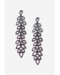 TOPSHOP - Multicolor Coloured Rhinestone Leaf Drop Earrings - Lyst