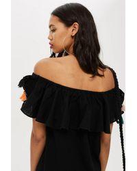 TOPSHOP - Black Petite Tassel Embroidered Bardot Dress - Lyst