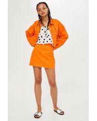 TOPSHOP - Orange Denim Skirt - Lyst