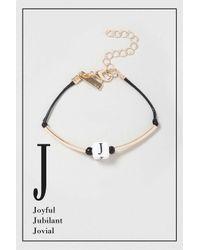 TOPSHOP - Black J Initial Bracelet - Lyst
